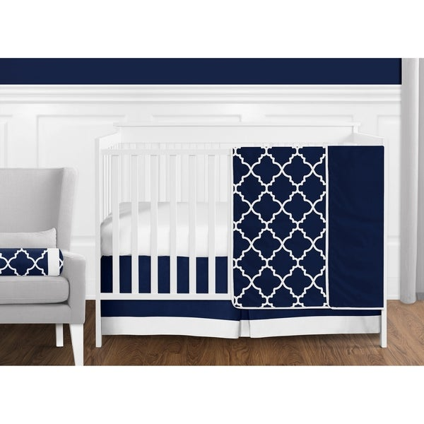 Sweet Jojo Designs Navy Blue and White Modern Trellis Lattice Collection Baby Boy 11-piece Crib Bedding Set