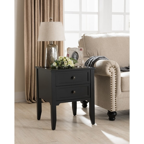 Baxter Black 2 Drawer Side Table With Charging Station