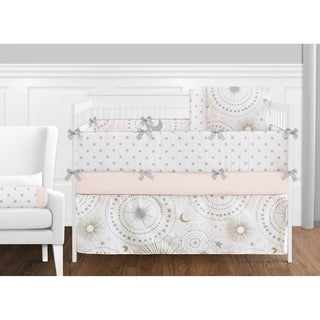 Sweet Jojo Designs Blush Pink Gold Grey and White Star and Moon Celestial Collection Baby Girl 9-piece Crib Bedding Set