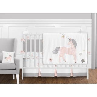 Sweet Jojo Designs Pink, Grey and Gold Unicorn Collection Baby Girl 9-piece Crib Bedding Set