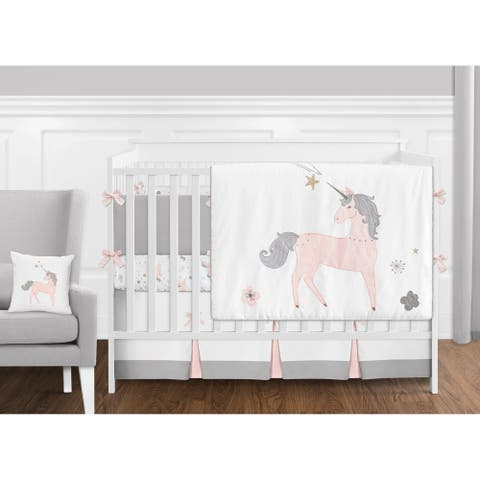 Sweet Jojo Designs Pink, Grey and Gold Unicorn Collection Baby Girl 9-piece Crib Bedding Set