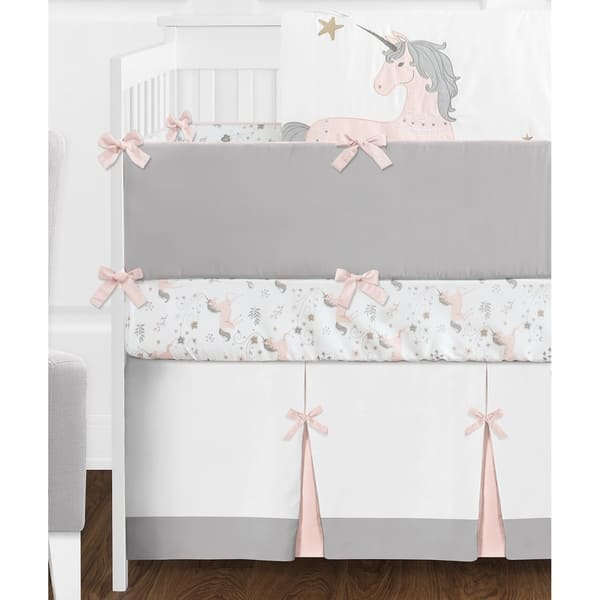 Sweet Jojo Designs Pink Grey And Gold Unicorn Collection Baby Girl 9 Piece Crib Bedding Set Overstock 18900367