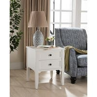 Baxter Side Table in White with Charging Station