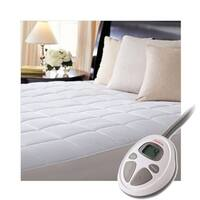 Sunbeam Premium Luxury Quilted Electric Heated Mattress Pad - Queen Size - White