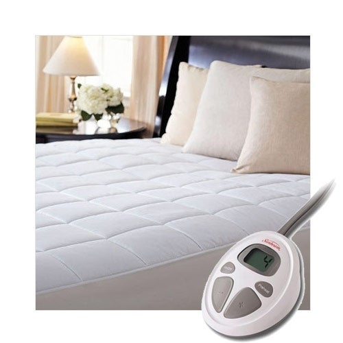 Sunbeam Premium Luxury Quilted Electric Heated Mattress Pad   Full Size    White