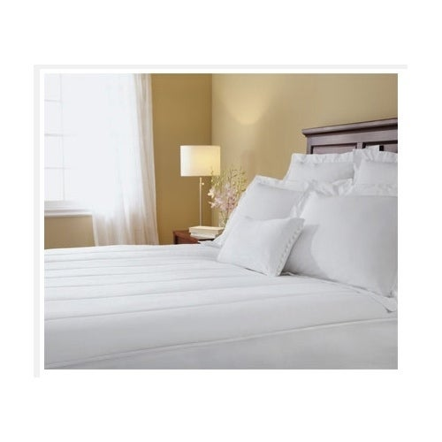 Sunbeam Quilted Heated Electric Mattress Pad Stripe Patte...