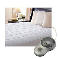 Sunbeam Premium Quilted Cotton Heated Electric Mattress Pad - Cal-King Size - White