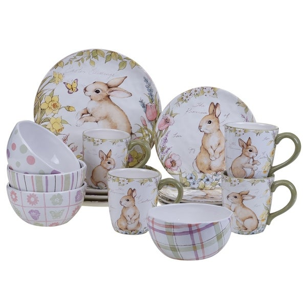 Certified International Bunny Patch 16-piece Dinnerware Set