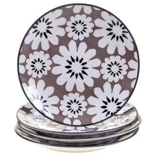 Chelsea Mix and Match Grey Floral 8.5-inch Dessert Plates (Set of 4)