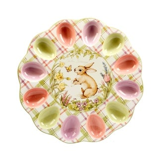 Certified International Bunny Patch 12.5-inch 3-d Egg Plate