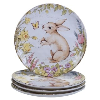 Bunny Patch 11-inch Assorted Designs Dinner Plates (Set of 4)