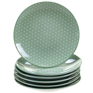 Chelsea Mix and Match Indigo Quatrefoil Canape Plates (Set of 6)
