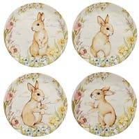 Bunny Patch 8.5-inch Assorted Designs Dessert Plates (Set of 4)