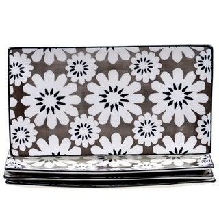 Chelsea Mix and Match Grey Floral Rectangular Platter (Set of 4)
