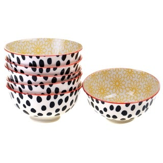 Chelsea Mix and Match Daisy Dots 4.75-inch Bowl (Set of 6)