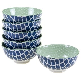 Chelsea Mix and Match Indigo Quatrefoil 4.75-inch Bowl (Set of 6)