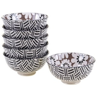 Chelsea Mix and Match Grey Floral 4.75-inch Bowl (Set of 6)
