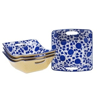 Chelsea Mix and Match Indigo Poppy Square Open Handles Bowl (Set of 4)