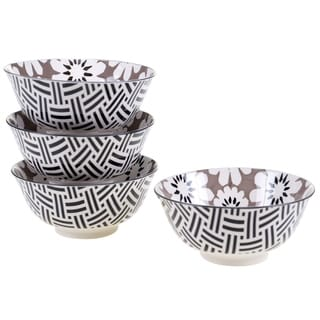 Chelsea Mix and Match Grey Floral 6.25-inch Bowl (Set of 4)