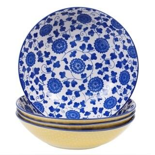 Chelsea Mix and Match Indigo Poppy 9.25-inch Pasta Bowl (Set of 4)