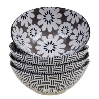 Chelsea Mix and Match Grey Floral 8.25-inch Oval Bowl (Set of 4)