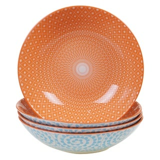 Chelsea Mix and Match Aqua Swirl 9.25-inch Round Pasta Bowl (Set of 4)