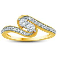 1/2 Carat TW Two Stone Diamond Ring in 10K Yellow Gold