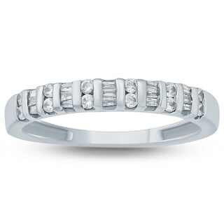 3/8 Carat Baguette and Diamond Band in 10K White Gold