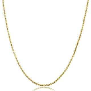 Fremada 10k Yellow Gold 1.9 millimeters Hollow Rope Chain Necklace (18 inches)
