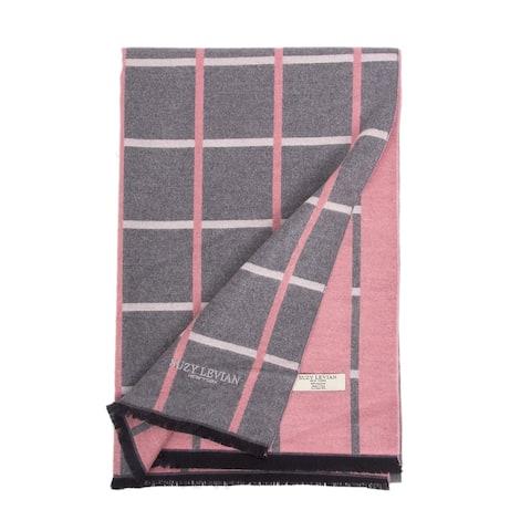 Suzy Levian Women's Grey and Pink Geometric Striped Winter Scarf