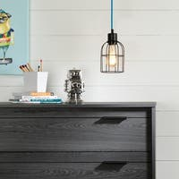 South Shore Plog-it Black and Blue Hanging lamp with bell shade