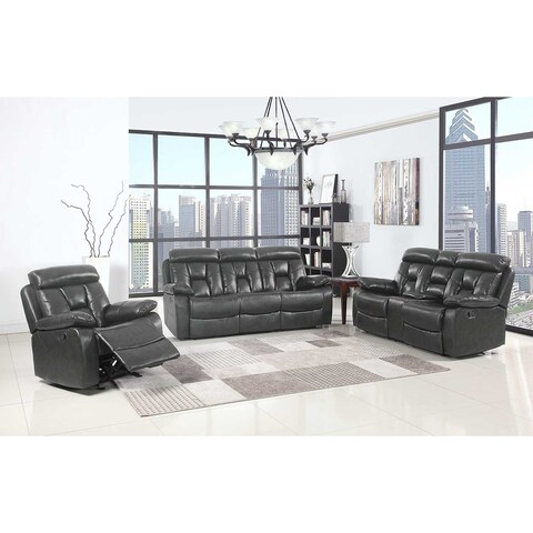 Lockhart Leather Air Upholstered 3 Piece Living Room Sofa Set