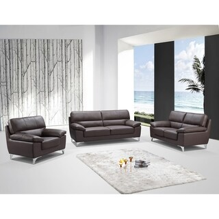 Azalea Leather Air Upholstered 3 Piece Living Room Sofa Set