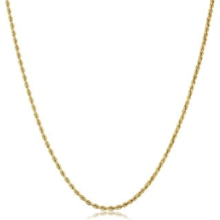 Fremada 10k Yellow Gold 1.75 millimeters Hollow Rope Chain Necklace (18 inches)