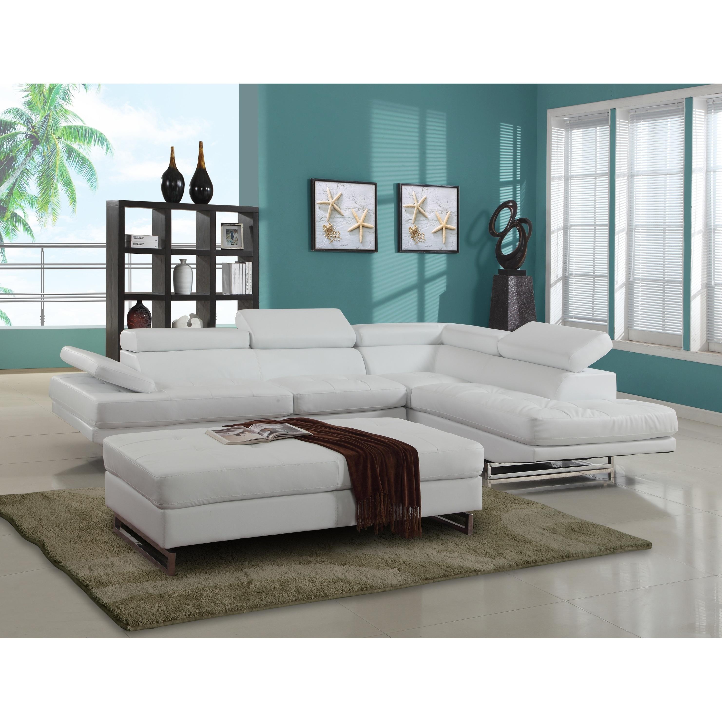 GU Furniture Oleander Faux Leather Upholstered Living Room Sectional
