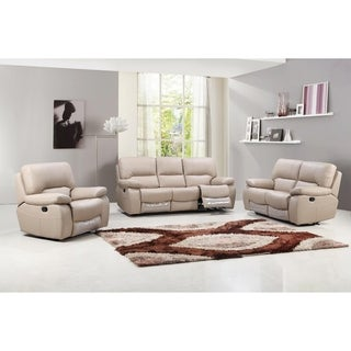 Tucker Leather Air Upholstered 3 Piece Living Room Sofa Set
