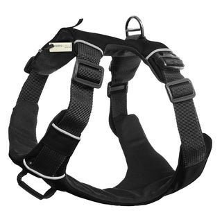 OxGord Paws & Pals Dog Harness, Large, Black. No-Pull Durable Padded Nylon Mesh Vest - Easy Secure Control