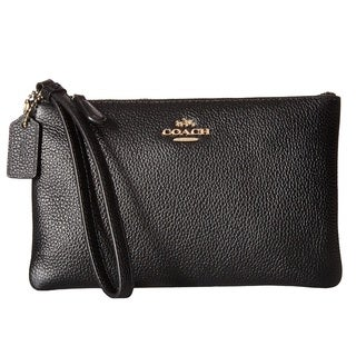 COACH Boxed Light Gold/Black Small Leather Wristlet