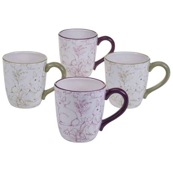 Certified International Bunny Patch 20-ounce Toile Mug (Set of 4). Opens flyout.