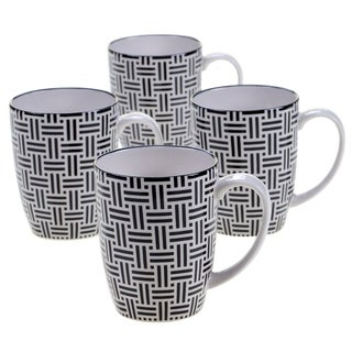 Chelsea Mix and Match Grey Floral 15-ounce Mug (Set of 4)