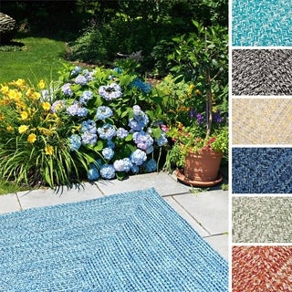 Ocean's Edge Indoor/Outdoor Reversible Square Braided Rug USA MADE (5' Square)