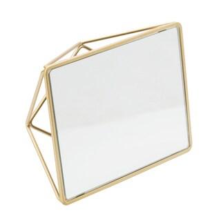 Satin Gold Geometric 2-way Vanity Mirror