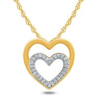 1/8 Carat TW Diamond Double Heart Pendant in 10K Yellow Gold