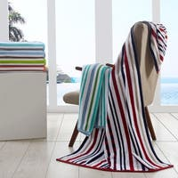 Superior 100% Cotton Stitch Stripe Textured Oversized Beach Towel (Set of 2)
