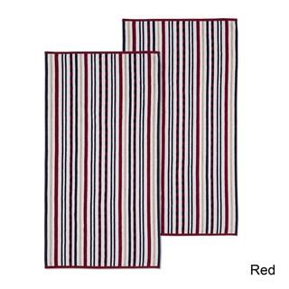 Superior 100% Cotton Stitch Stripe Textured Oversized Beach Towel (Set of 2)