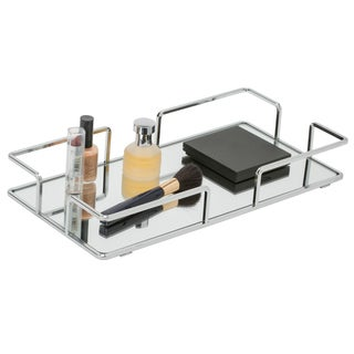 Modern Chrome Rectangular Vanity Mirror Tray