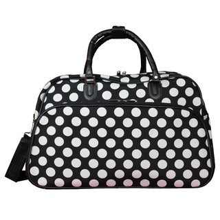 World Traveler Black White Dot 21-Inch Carry-On Shoulder Tote Duffle Bag