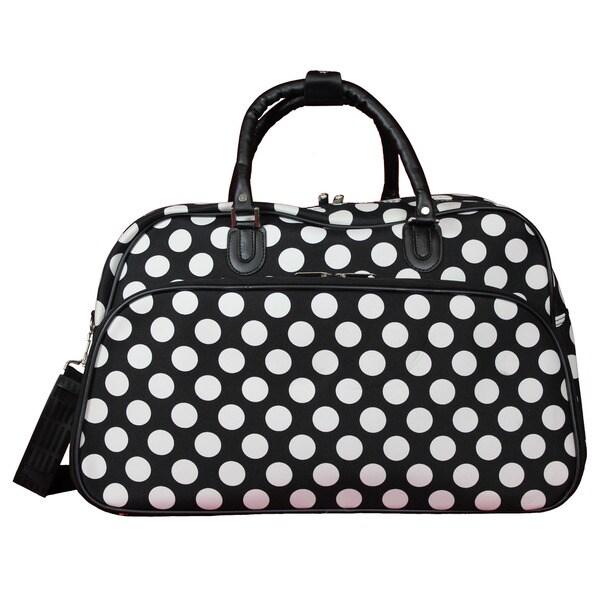 World Traveler Black White Dot 21-Inch Carry-On Shoulder Tote Duffle Bag. Opens flyout.
