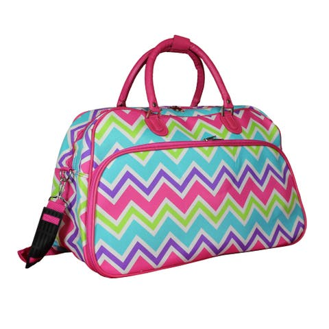 World Traveler Chevron 21-Inch Carry-On Shoulder Tote Duffle Bag