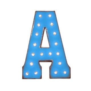 "21"" Letter A Plug-In Rustic Metal Marquee Light Up Sign Color Blue"